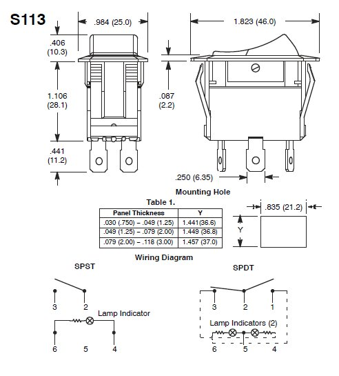 switch diagram S113 lighted rocker switch wiring diagram iron blog Dpst Switch Wiring Diagram at n-0.co